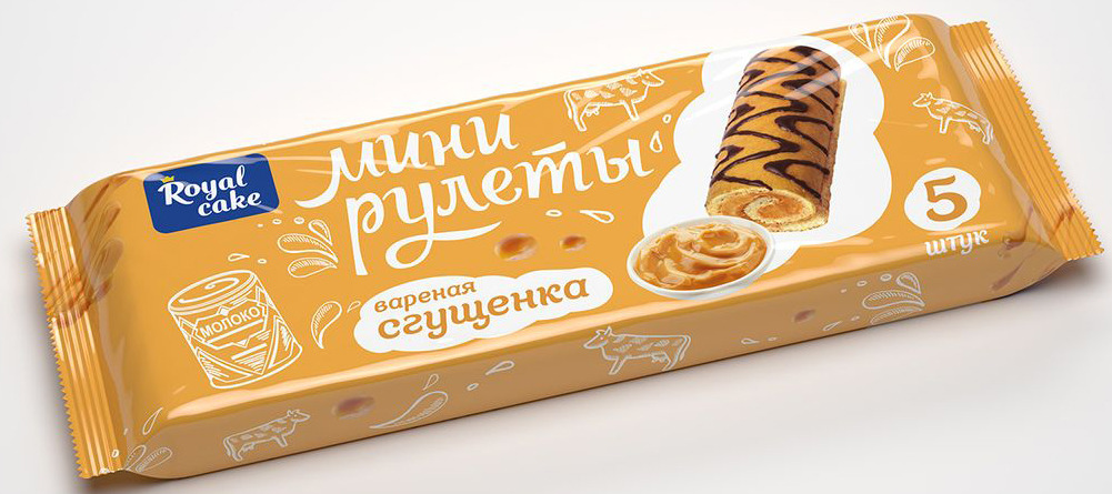 Рулет Royal Cake Сладкая пятерочка с вареной сгущенкой, декорированный, мини, 140 гр рулет royal cake со вкусом шоколада глазированный бисквитный 200 гр