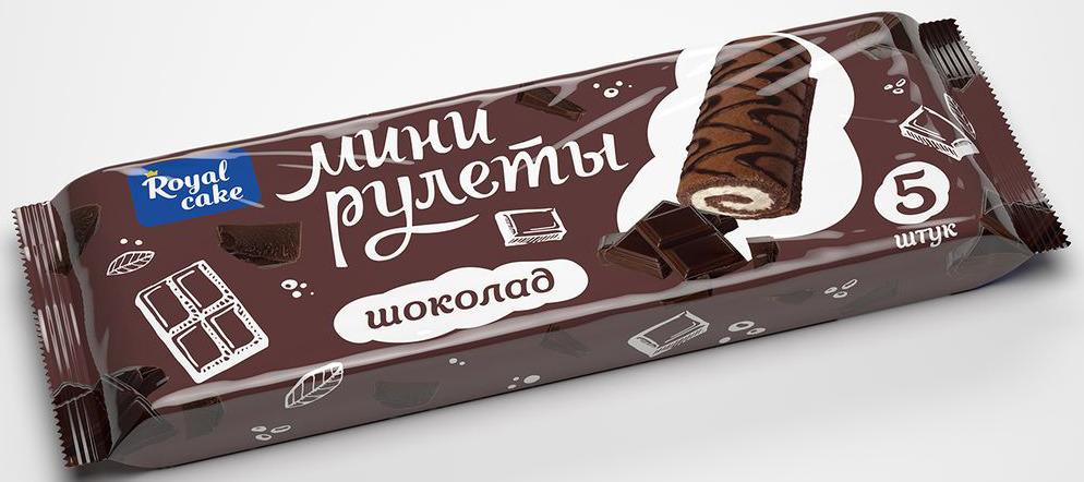 Рулет Royal Cake Сладкая пятерочка со вкусом шоколада, декорированный, мини, 140 гр рулет royal cake со вкусом шоколада глазированный бисквитный 200 гр