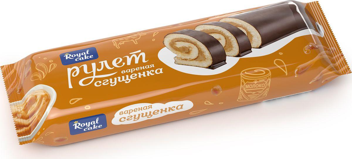 Рулет Royal Cake с вареной сгущенкой, глазированный, бисквитный, 200 гр рулет royal cake с абрикосом глазированный бисквитный 200 гр