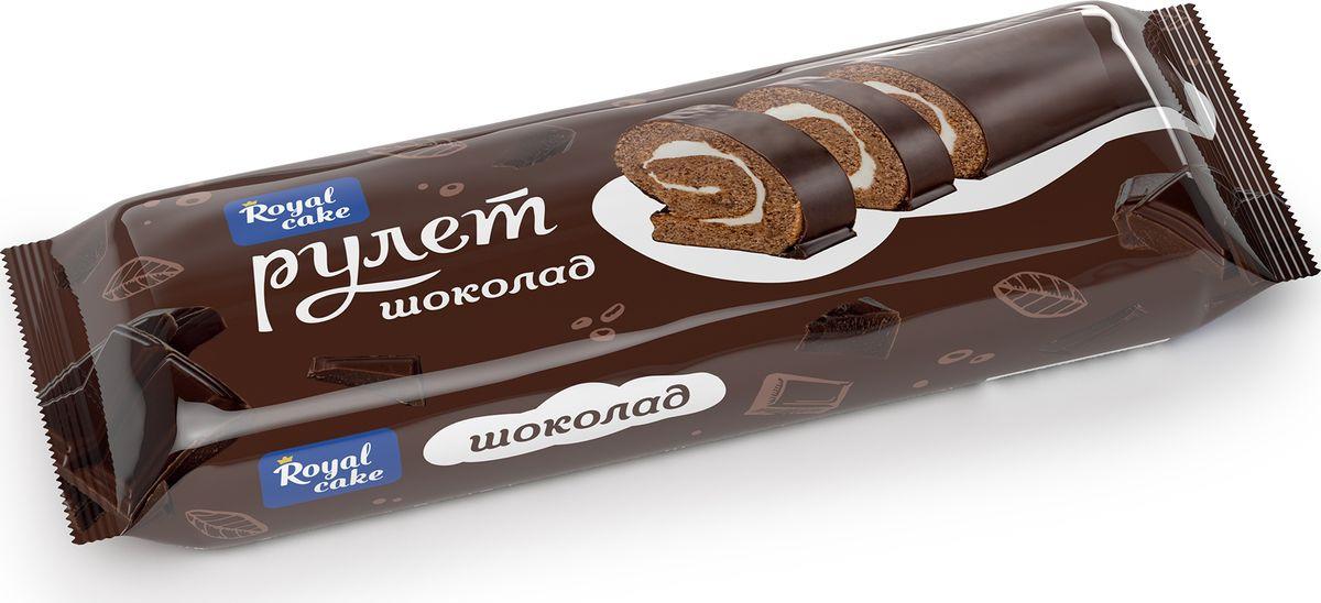 Рулет Royal Cake со вкусом шоколада, глазированный, бисквитный, 200 гр рулет royal cake с абрикосом глазированный бисквитный 200 гр