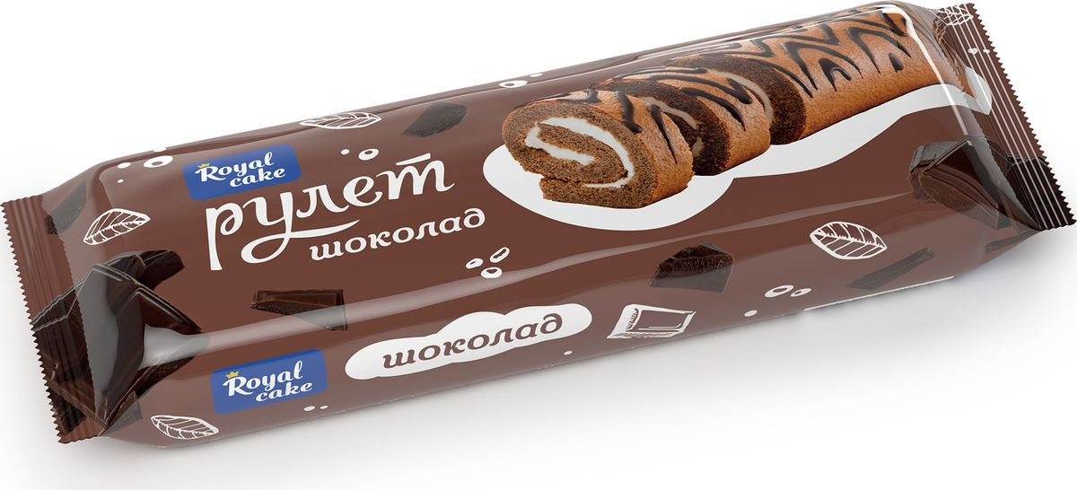 Рулет Royal Cake со вкусом шоколада, декорированный, бисквитный, 300 гр Royal Cake