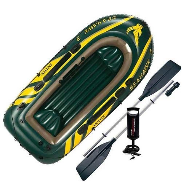 Надувная лодка Intex Лодка надувная SEAHAWK 3 Set, желтый, зеленый лодка надувная лидер 430 зеленая