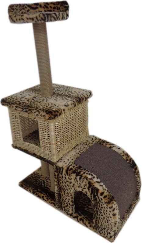 цена на Домик-когтеточка Меридиан Двухуровневый, Д 341 Л Б, барс, 72 x 37 x 110 см