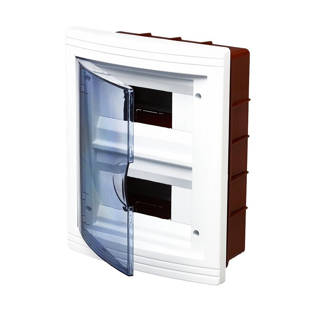 Короб установочный RUCELF Щит распределительный встраиваемый ЩРВ-П-16 IP40 0,7 кг, белыйЩРВ-П-16Тип изделия: щит распределительный встраиваемыйЦвет: белыйСпособ монтажа: навеснойМатериал изделия: АБС-пластикДверь: пластик прозрачный с тонировкойСтепень защиты от пыли и влаги: IP40Количество модулей DIN: 16 Высота: 290 мм Ширина: 100 мм Глубина: 240 ммВес: 0,700 кгТемпература эксплуатации: от -20С до +80СЭлектрооборудование размещается внутри легко, стенки конструкции обеспечивают безопасность использования. Щит рекомендован для размещения в жилых и промышленных зданиях.