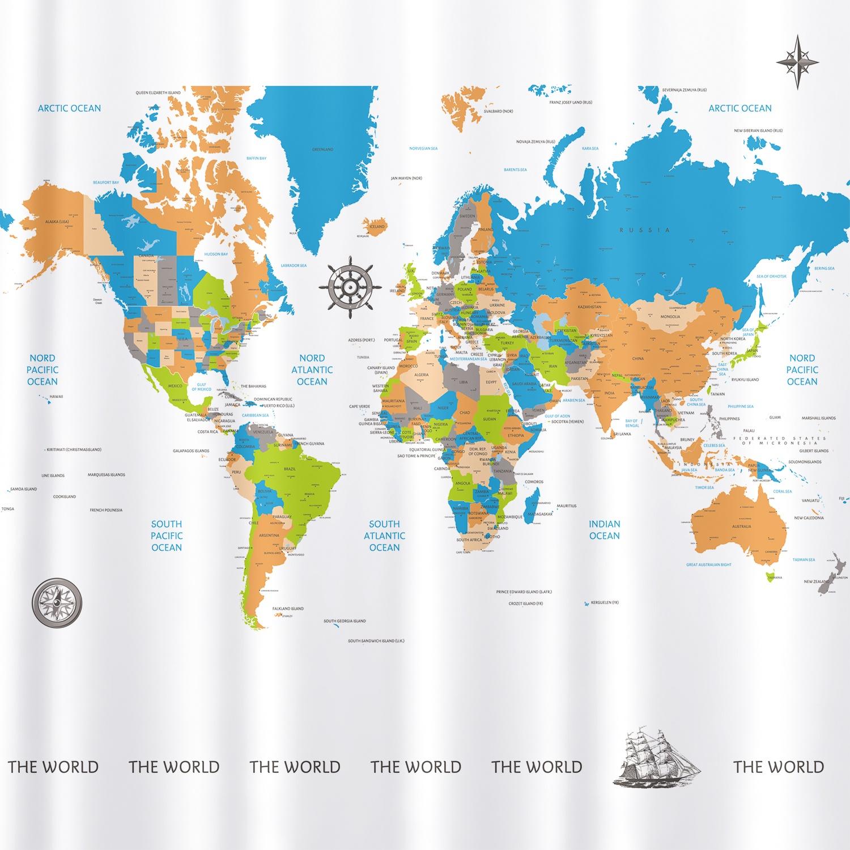 Штора для ванной Tatkraft MAP, белый цена