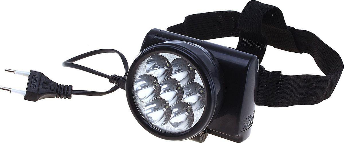 Налобный фонарь Black Beats, 7 LED, 600985, черный