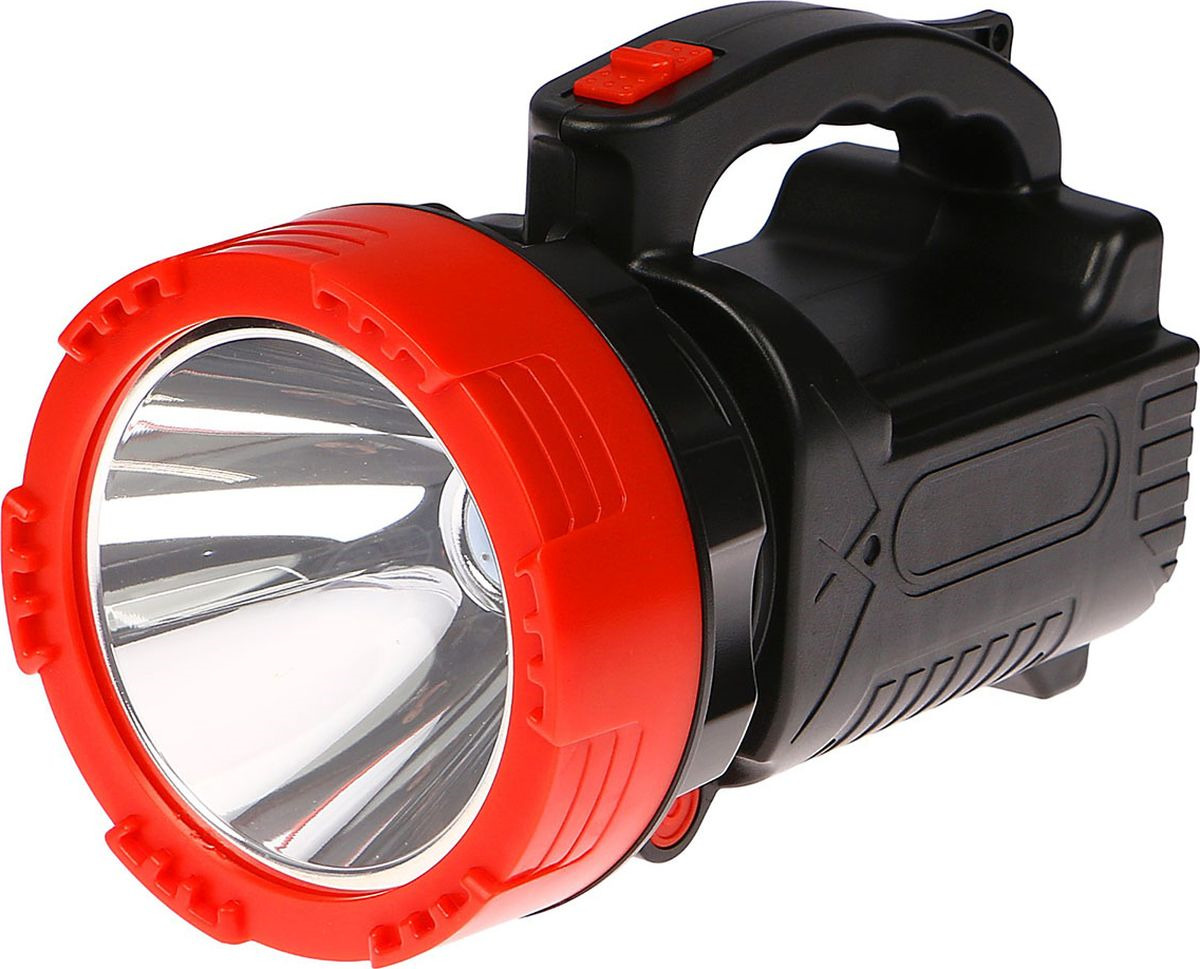 Ручной фонарь, LED, 3 режима, 3110079, черный, красный