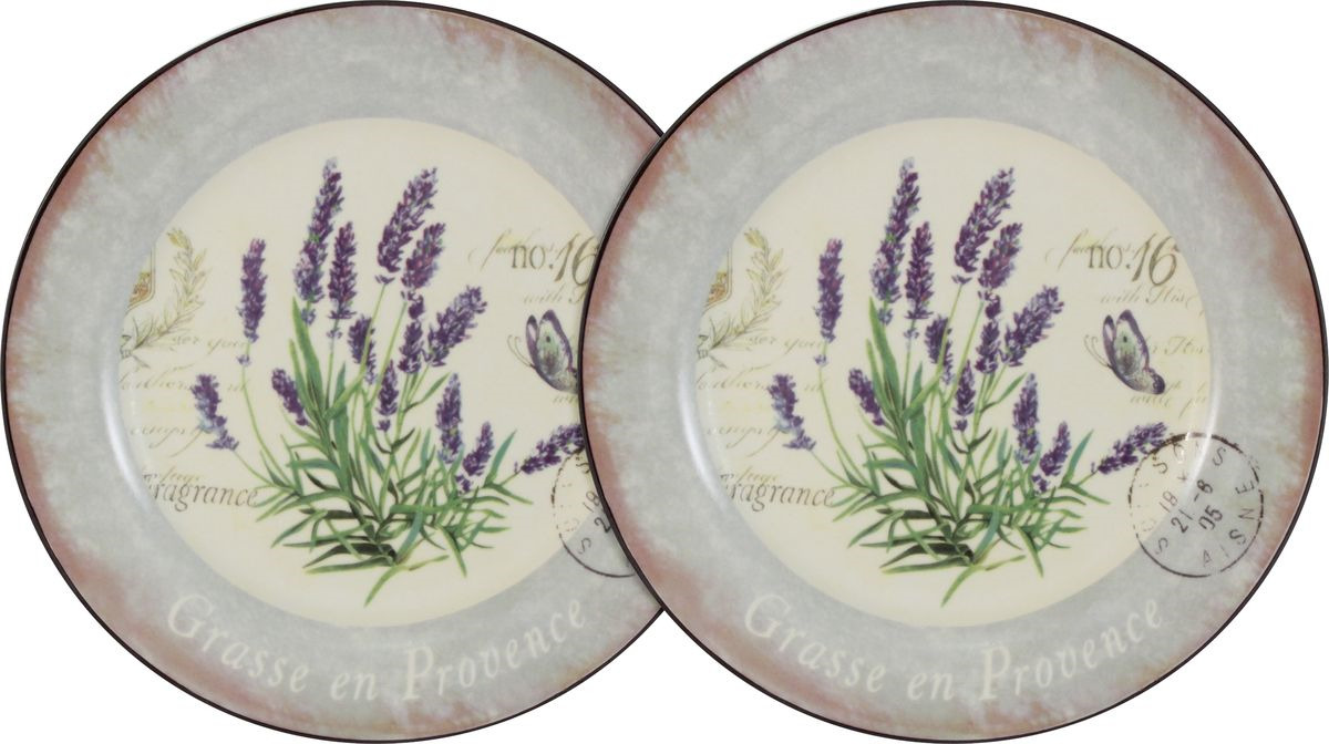 Тарелка десертная Anna Lafarg LF Ceramics Лаванда, AL-55E2258-L-LF, бежевый, сиреневый, диаметр 20 см, 2 шт