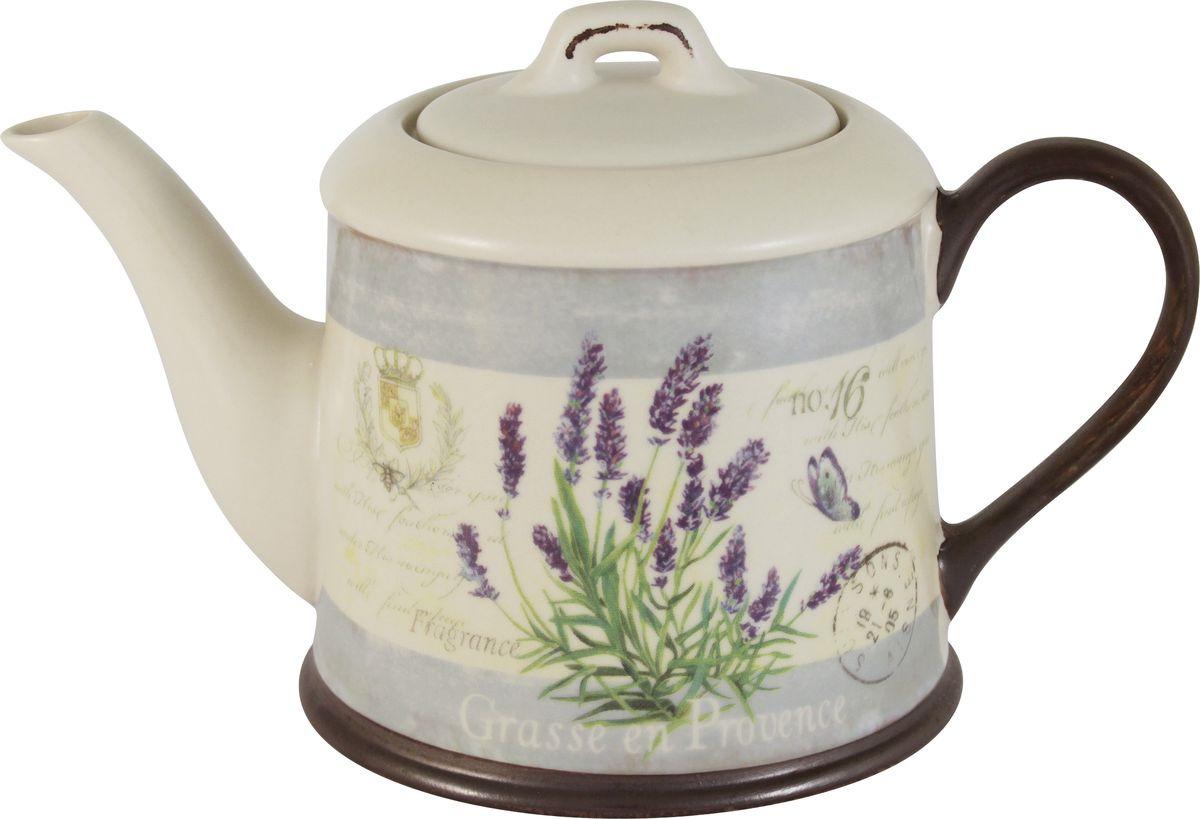 Чайник заварочный Anna Lafarg LF Ceramics Лаванда, AL-290F8563-L-LF, бежевый, сиреневый, 1 л банка для сыпучих продуктов anna lafarg lf ceramics кантри хоум biscuit 1 7 л