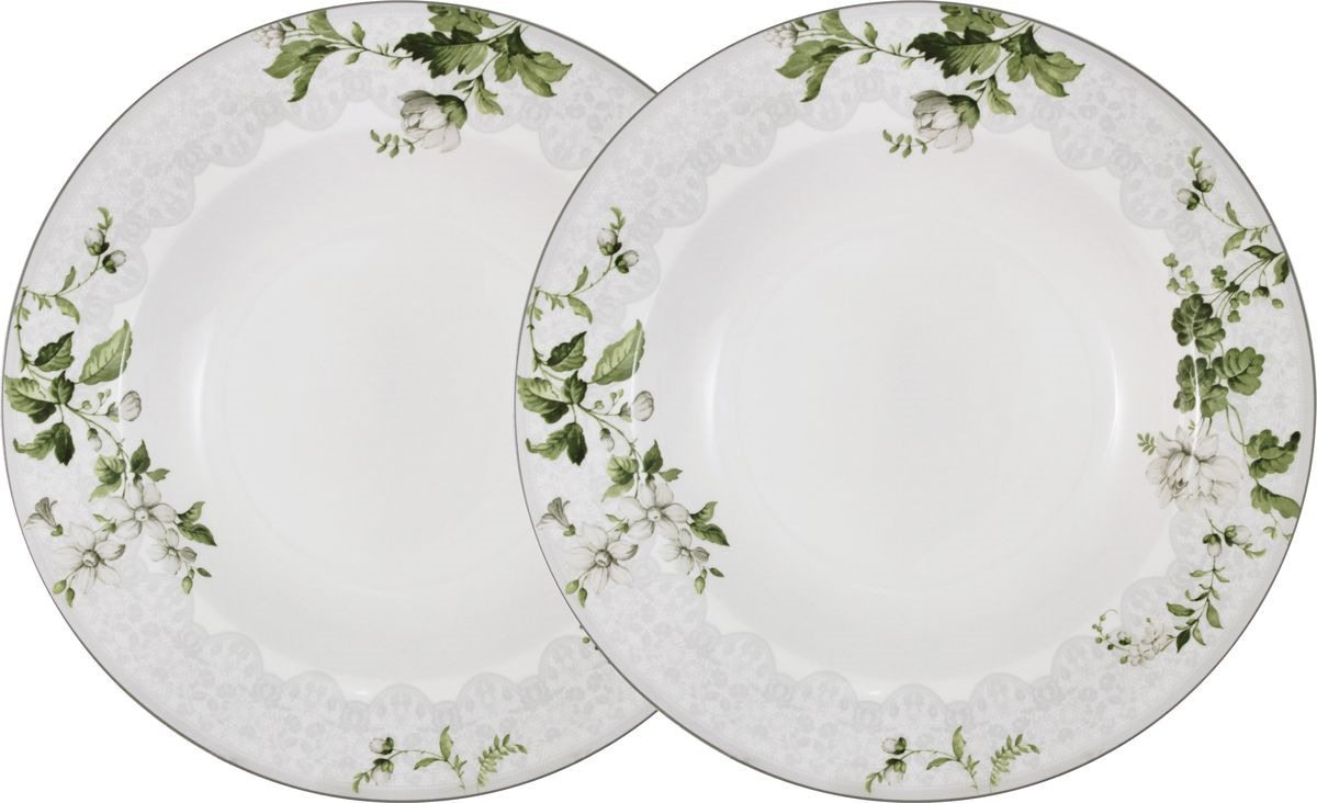 Тарелка Anna Lafarg Primavera Веста, AL-NBCP85-177-PW, белый, сиреневый, диаметр 22 см, 2 шт