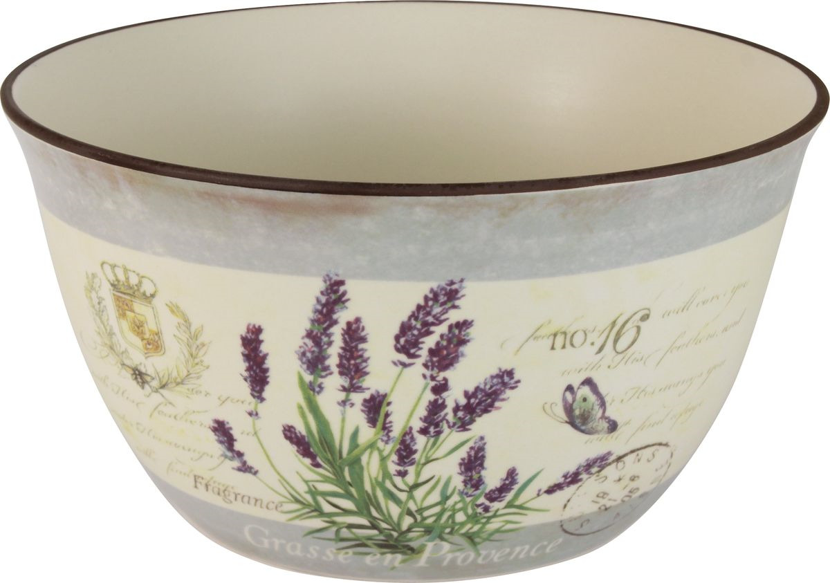 Салатник Anna Lafarg LF Ceramics Лаванда, AL-320F3805-L-LF, бежевый, сиреневый, диаметр 23 см банка для сыпучих продуктов чай anna lafarg lf ceramics кантри хоум al 180f9689 lf