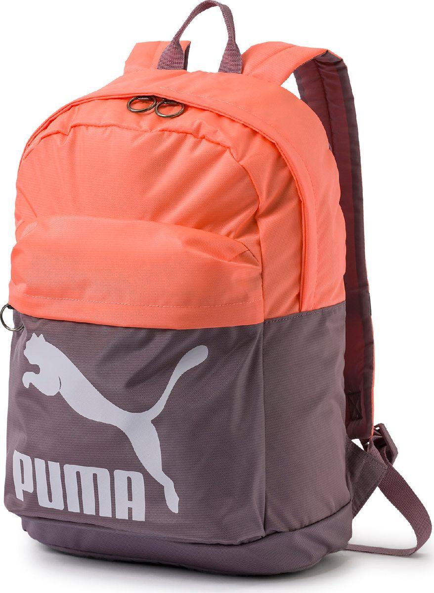 Рюкзак Puma Originals Backpack, 07479917, лиловый07479917Этот рюкзак создаст веселое и радостное настроение. Он имеет главное отделение на молнии, открывающейся с двух сторон, переднее отделение на молнии, эластичный внутренний карман, функциональную подкладку из полиэстера плотностью 150D с изнанкой из полиуретана, ручку для переноски из лямочной ленты сверху, наплечные лямки регулируемой длины с подложкой.Обращенная к спине часть рюкзака отстрочена и снабжена мягкой подкладкой.Символика PUMA представлена на скругленных металлических язычках застежек-молний, броским логотипом винтажной коллекции PUMA спереди и тканым ярлыком с эмблемой PUMA внутри.