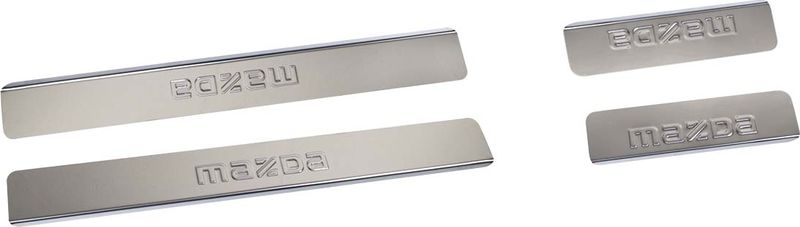 Накладки на внутренние пороги DolleX Mazda Cx-7, серый металлик, 4 шт накладки на пороги rival для hyundai creta 2016 н в нерж сталь с надписью 4 шт np 2310 1