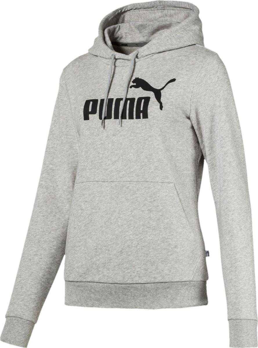 Худи женское Puma Essentials Hoody, цвет: светло-серый. 85179504. Размер XL (50) футболка мужская puma style athletics graphic tee цвет серый зеленый 85002839 размер xl 50 52