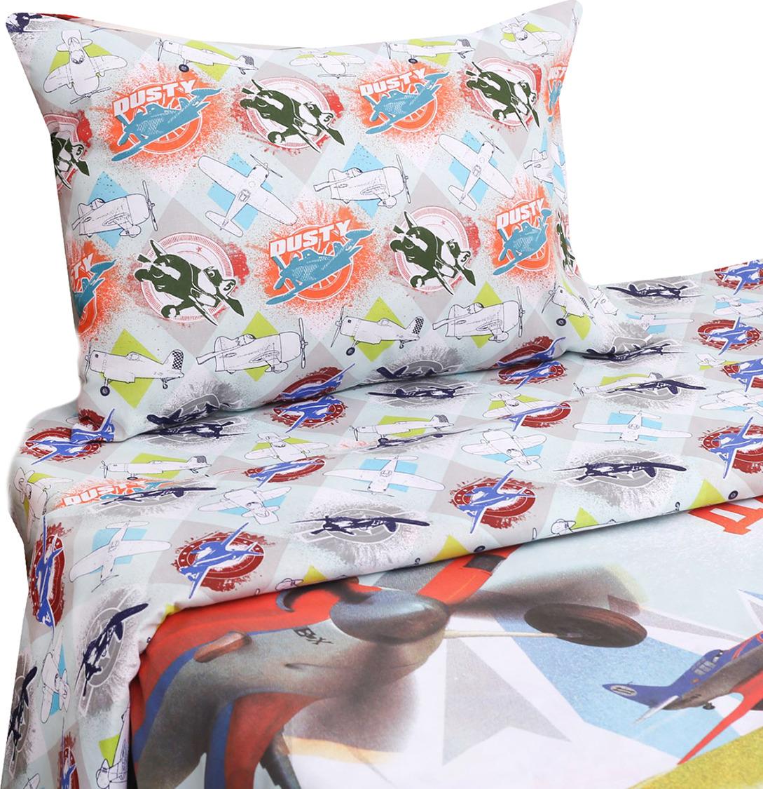 Комплект постельного белья Disney Дасти Самолеты, 1343391, разноцветный, наволочка 50x70