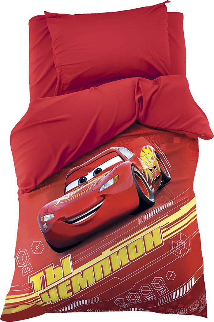 Комплект постельного белья Disney Тачки, 3989294, разноцветный, наволочка 50x70