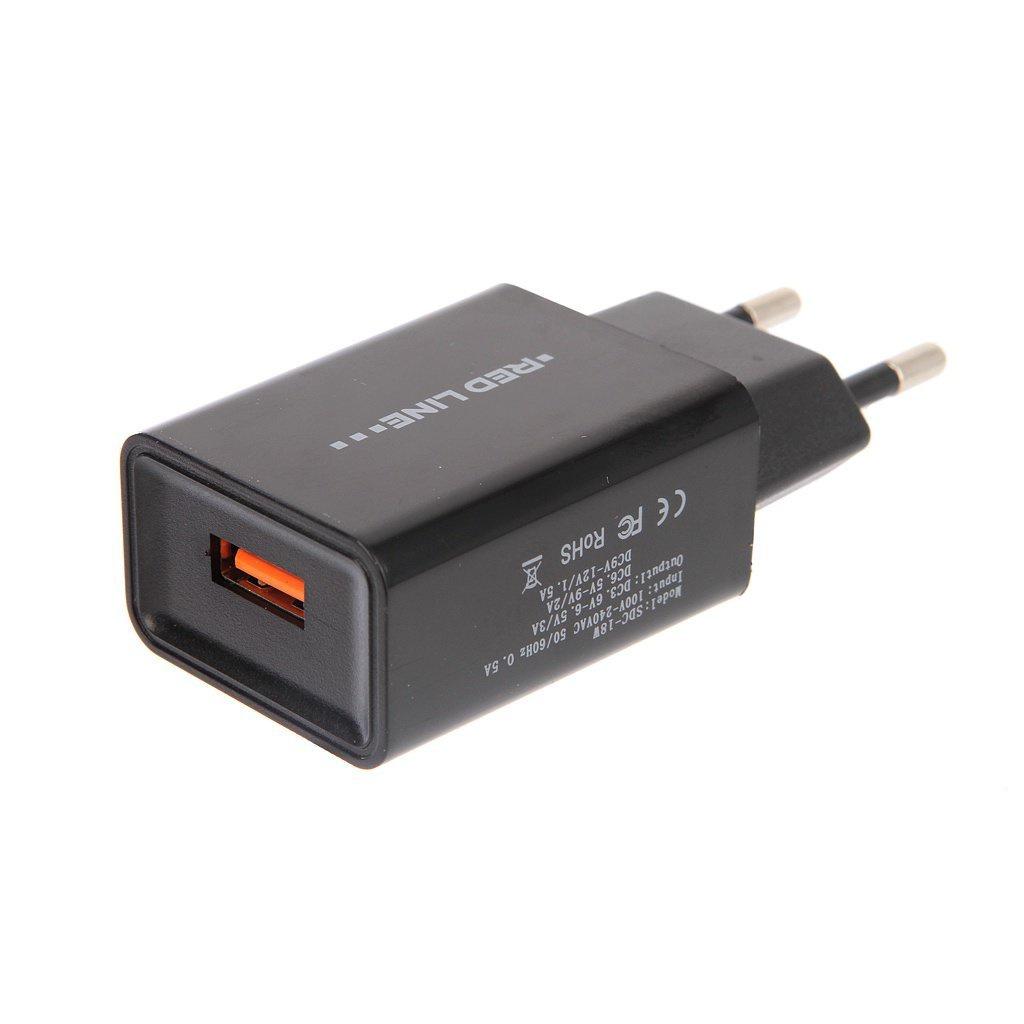 Зарядное устройство red line NQC1-3A, УТ000015768 зарядное устройство red line nqc1 3a tech usb qc 3 0 black ут000015768