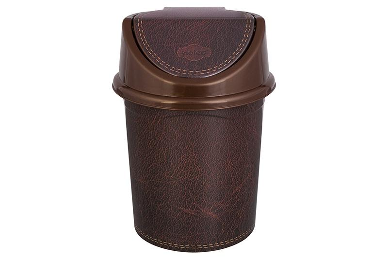 Мусорное ведро Violet Кожа, с подвижной крышкой, 811454, коричневый мусорное ведро violet элегант темный с подвижной крышкой 811452 коричневый бежевый