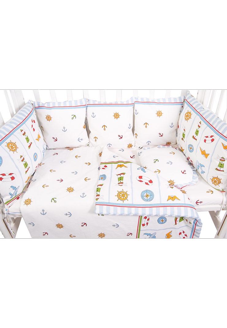 все цены на Комплект белья для новорожденных Сонный гномик Маяк, 433-10, голубой онлайн