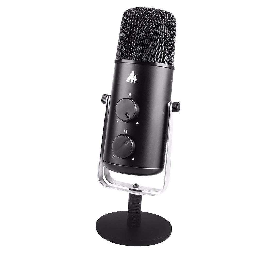Микрофон MAONO AU-903, USB (конденсаторный, кардиодной и круговой направленности, с выходом под наушники, регулировка Эхо и громкости), черный
