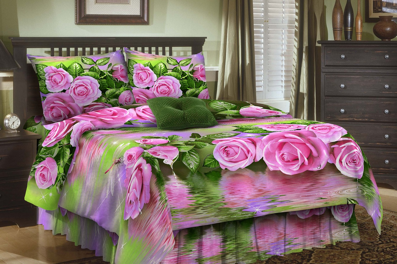 цена Комплект постельного белья Витэлия КПБ 2сп Розы бязь 3D онлайн в 2017 году
