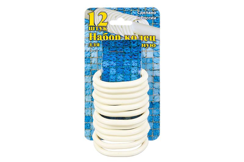 купить Кольца для шторки в ванной Violet пластиковые, 12 штук, 811513, бежевый по цене 193 рублей