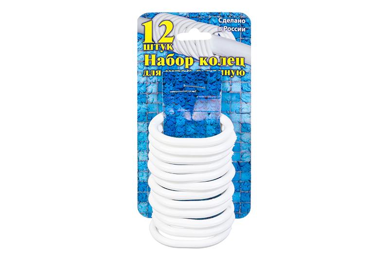 купить Кольца для шторки в ванной Violet пластиковые, 12 штук, 811511, белый по цене 228 рублей