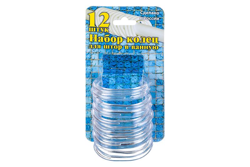 купить Кольца для шторки в ванной Violet пластиковые, 12 штук, 811514, прозрачный по цене 245 рублей