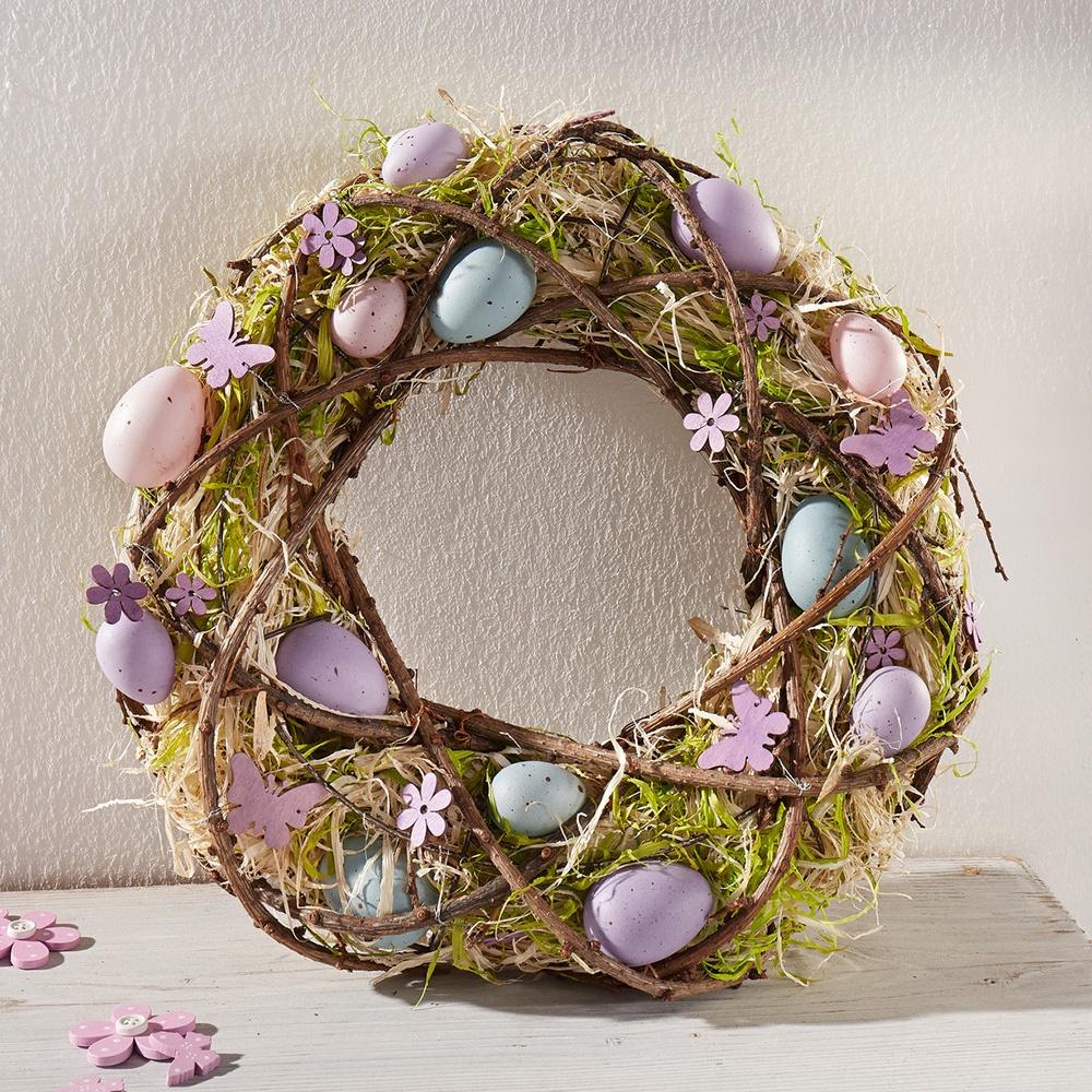 Венок ХИТ - декор Виолетта, 06037, 06037 венок на стену 25см золотой текстильный декор