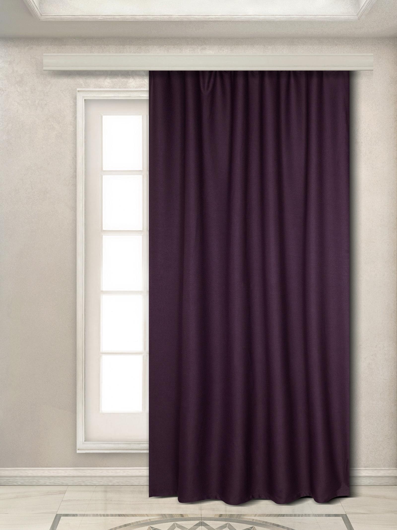 Портьера Zlata Korunka 777386, 777386, фиолетовый777386Портьера 1 шт, из плотной портьерной ткани под «Искусственный ЛЁН парусина», фиолетового цвета, шириной 180 см и высотой 270 см, крепление шторная лента 6 см х/б.