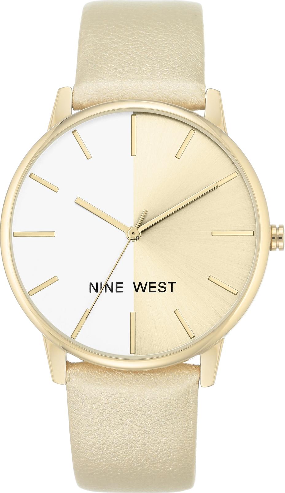 Часы Nine West женские золотой часы nixon time teller deluxe leather navy sunray brow