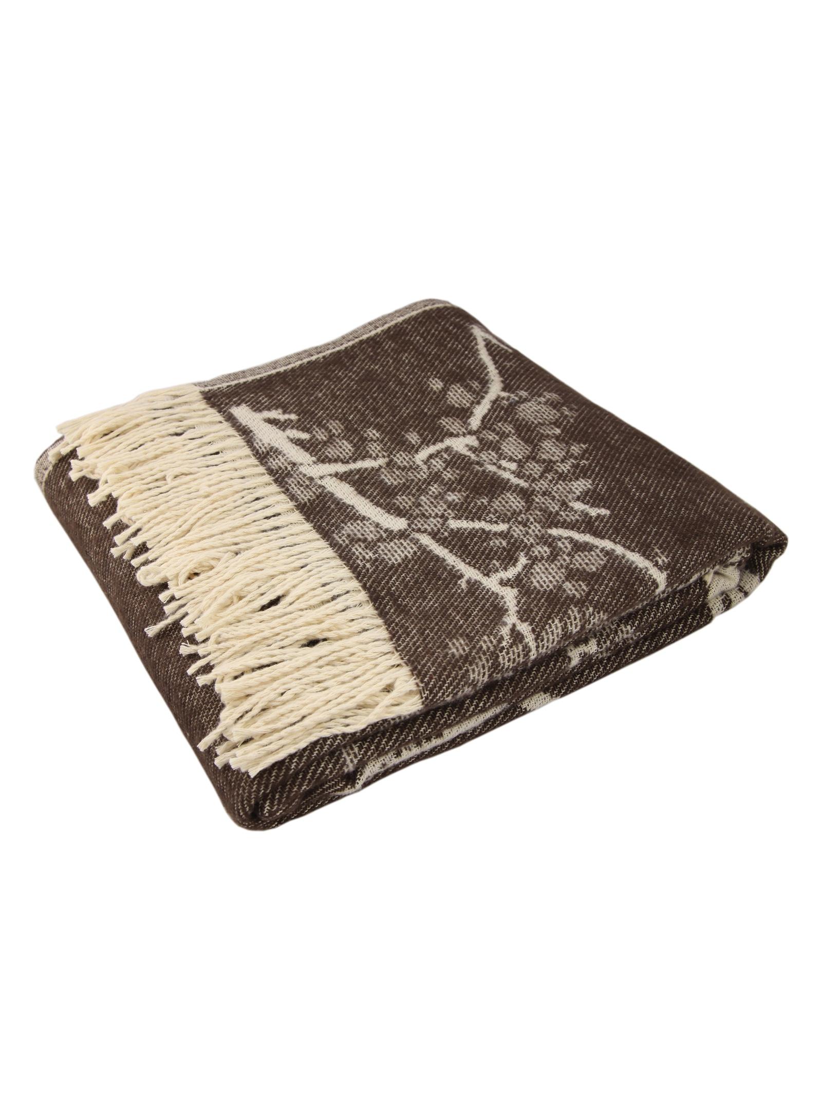 Плед Arloni жаккардовое плетение, 27085, коричневый цена