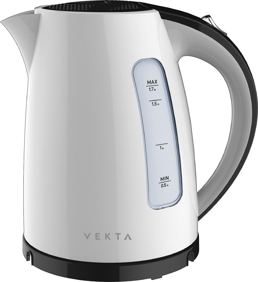 Электрический чайник Vekta KMP-1701, черный, белый, 1,7 л
