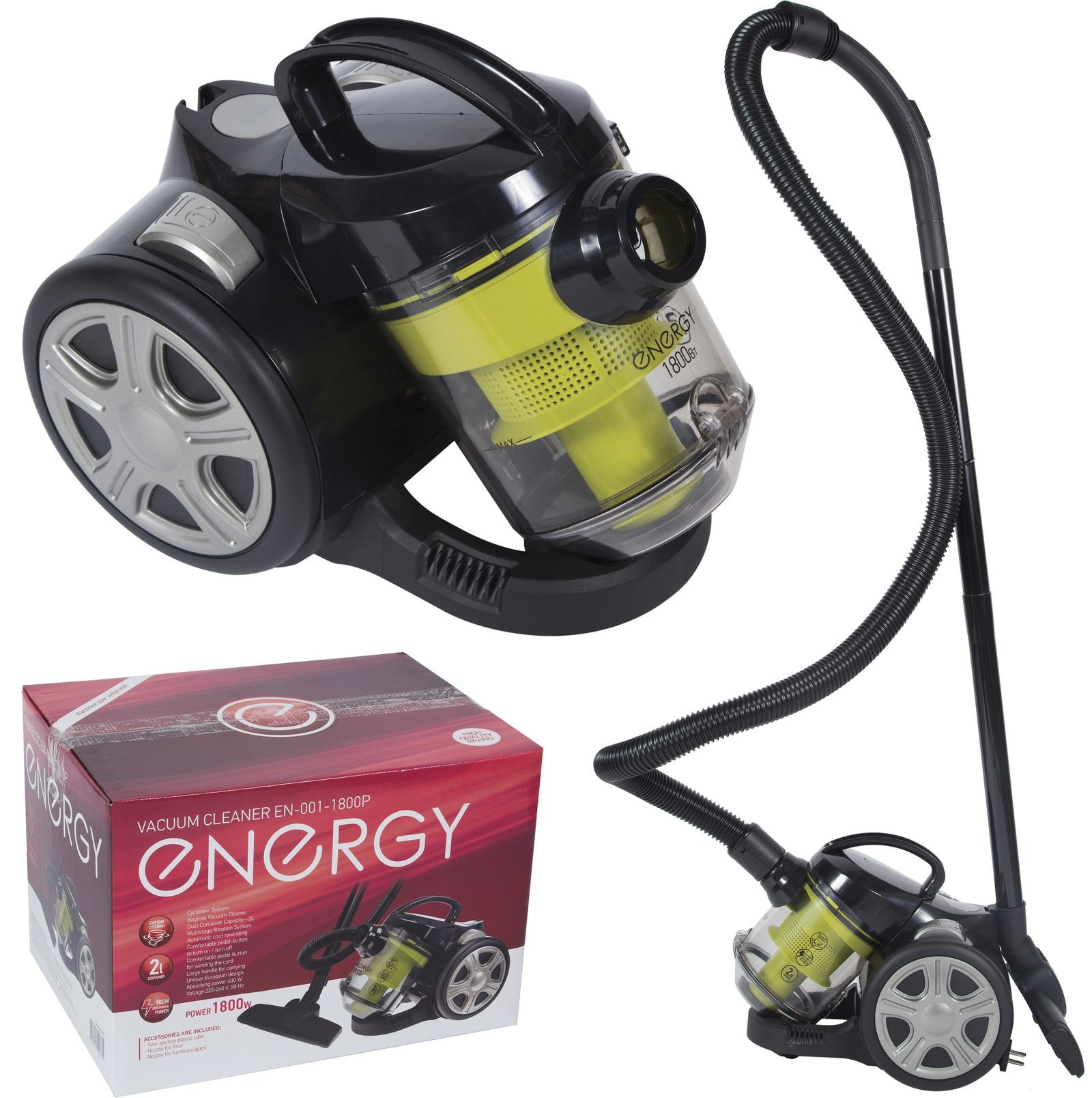 все цены на Бытовой пылесос ENERGY EN-001-1800Р, 54 004698, черный, желтый онлайн