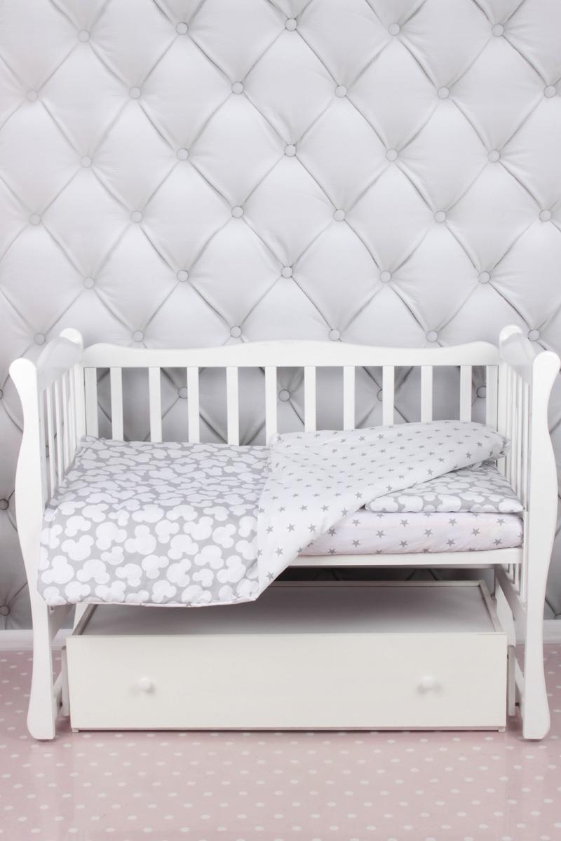 """Комплект в кроватку AmaroBaby """"Baby Boom. Мышонок, серый, 3 предмета"""
