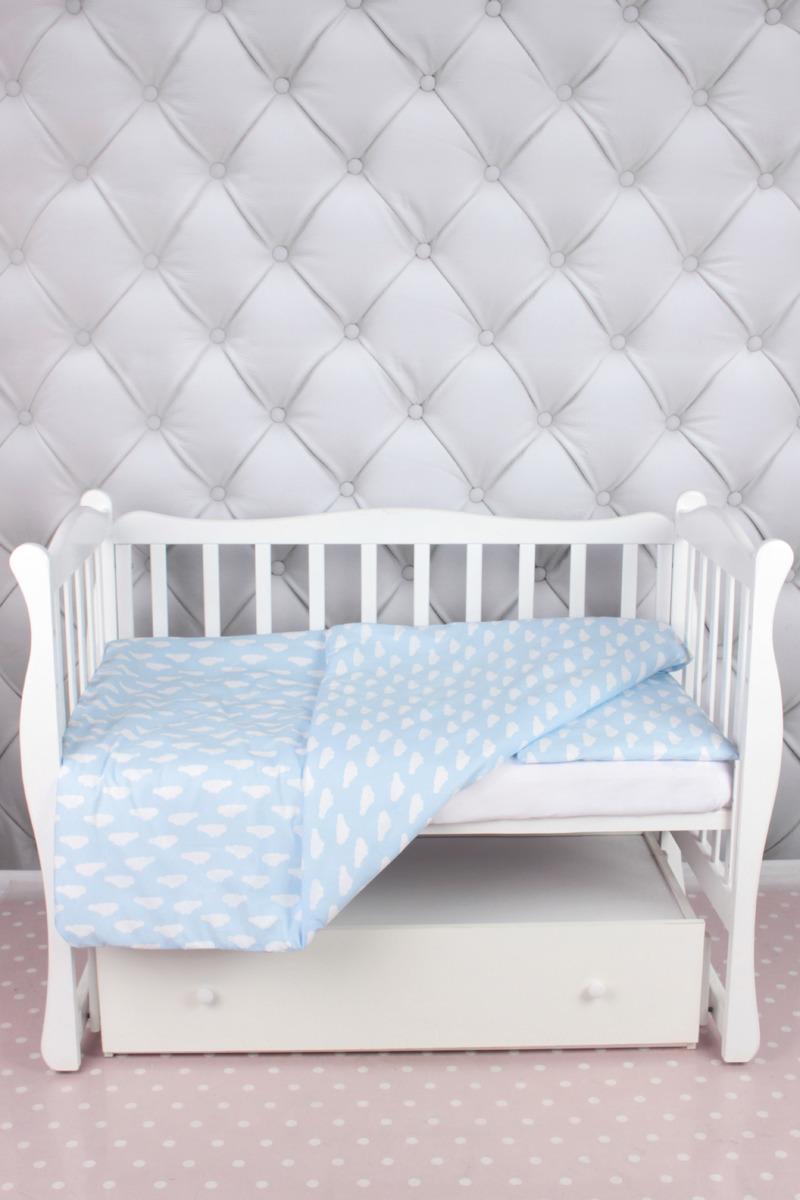 цена Комплект постельного белья детский AmaroBaby Baby Boom, облака, голубой, бязь, 3 предмета онлайн в 2017 году