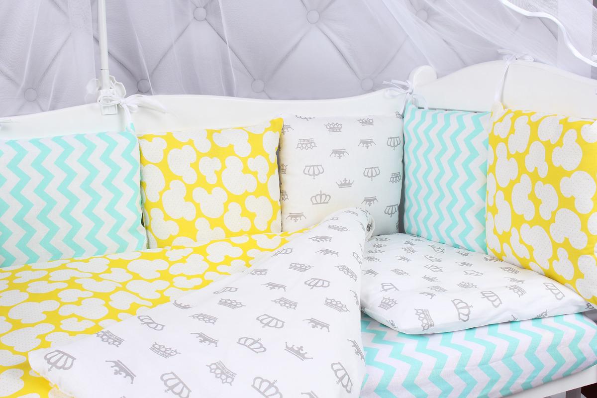Комплект белья в кроватку AmaroBaby Happy Baby, бязь, 15 предметов