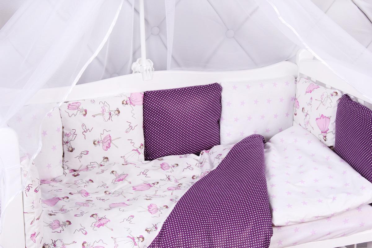 Комплект белья в кроватку AmaroBaby Амели, бязь, вишня, белый, 15 предметов