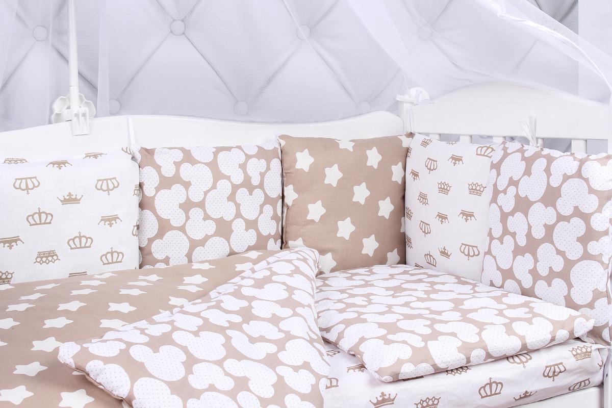 Комплект белья в кроватку AmaroBaby Soft, коричневый, бязь, 15 предметов