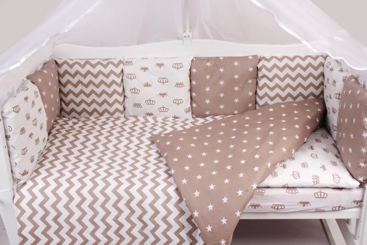 Комплект белья в кроватку AmaroBaby Royal Baby, коричневый, бязь, 15 предметов
