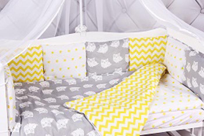 Комплект белья в кроватку AmaroBaby Совята, бязь, желтый, серый, 15 предметов