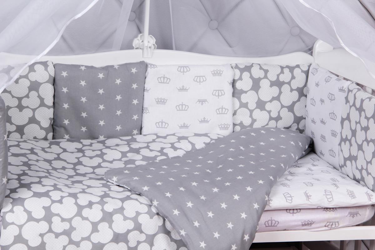 Комплект белья в кроватку AmaroBaby Silver, серый, 15 предметов