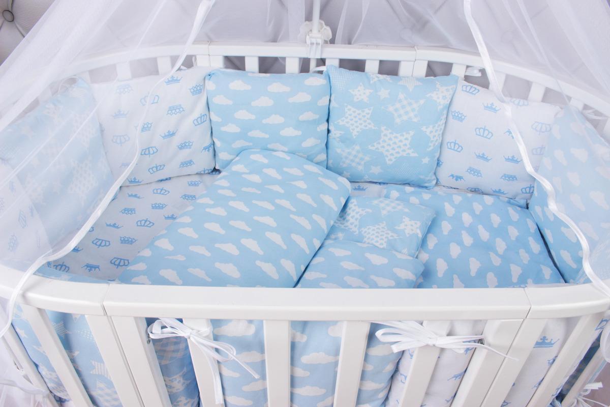 Комплект белья в кроватку AmaroBaby Воздушный, бязь, голубой, 15 предметов