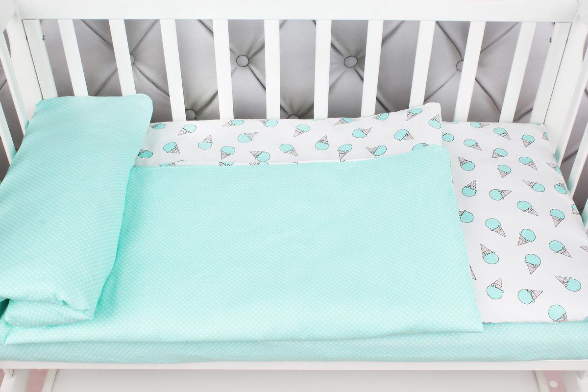 Комплект постельного белья детский AmaroBaby Baby Boom, мороженки, мята, бязь, 3 предмета
