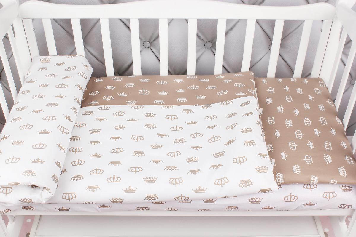 цена Комплект постельного белья детский AmaroBaby Baby Boom, короны, коричневый, бязь, 3 предмета онлайн в 2017 году