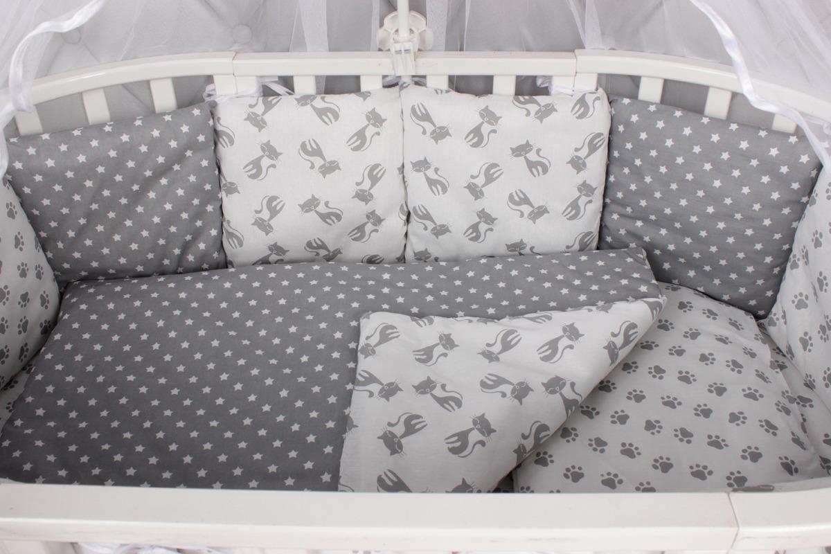 Комплект белья в кроватку AmaroBaby Мимими, бязь, серый, 18 предметов