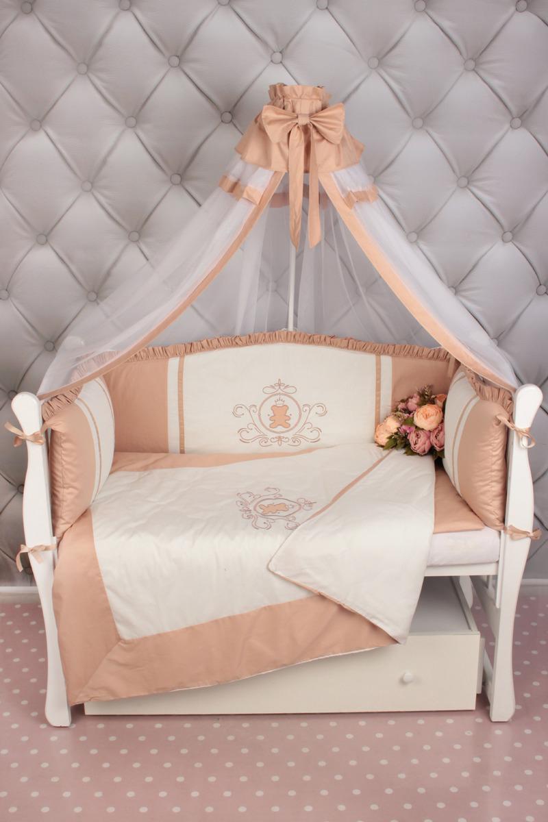 Комплект в кроватку AmaroBaby Premium Sweet Dreams, кофе), 7 предметов