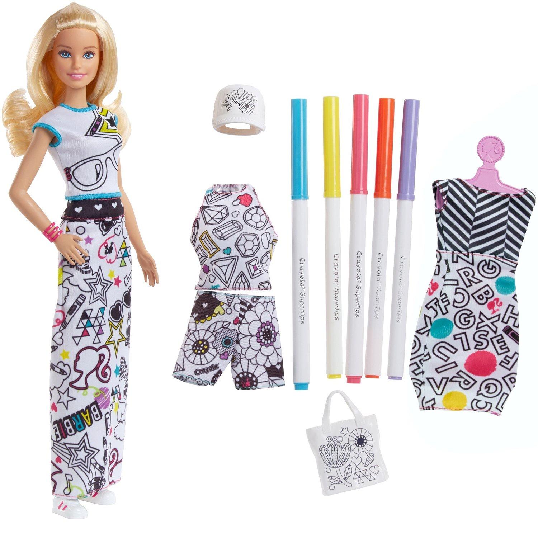 Игровой набор с куклой Barbie Игрушка Barbie + Crayola одежда-раскраска