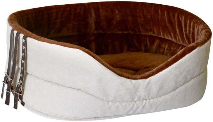 Лежак для животных ZOOexpress Дерби №1, с мехом,75316, кремовый, 68 х 52 х 19 см цена