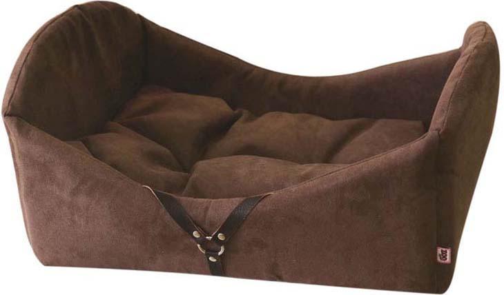 Лежак-кроватка для животных ZOOexpress Дерби №1, 75321, коричневый, 50 х 35 х 23 см лежанка для животных lion manufactory мишель цвет коричневый 50 х 50 см